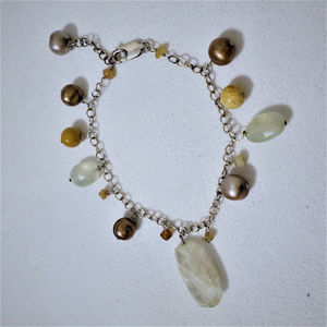 Sterling Natural Pearl Gemstone Charm Bracelet